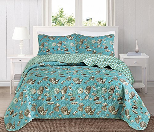 Great Bay Home 3 Piece Quilt Set with Shams. Soft All-Season Microfiber Bedspread Featuring Attractive Seascape Images. The Seychelles Collection By Brand. (King)