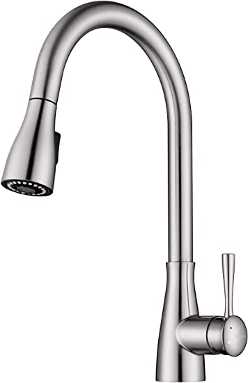 Neobano Brushed Nickel Kitchen Faucet With Sprayer Pull Down Faucet For Kitchen Sink Single Handle Single Hole High Gpm Pulldown Kitchen Sink Faucet Amazon Com