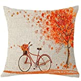 Fundas Cojines 45x45 Arboles,SMARTLADY Hoja de arce Bicicleta Funda de Almohada Decorativo18x18 pulgadas (01)