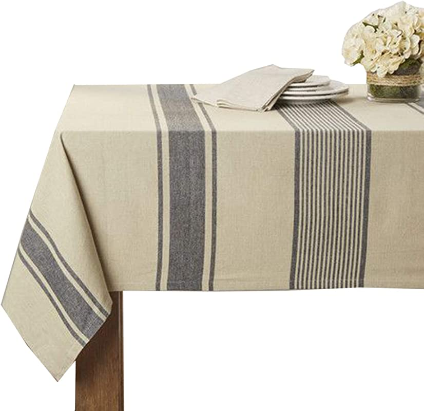 Fennco Styles Aulaire Banded Design Tablecloth 72 X72
