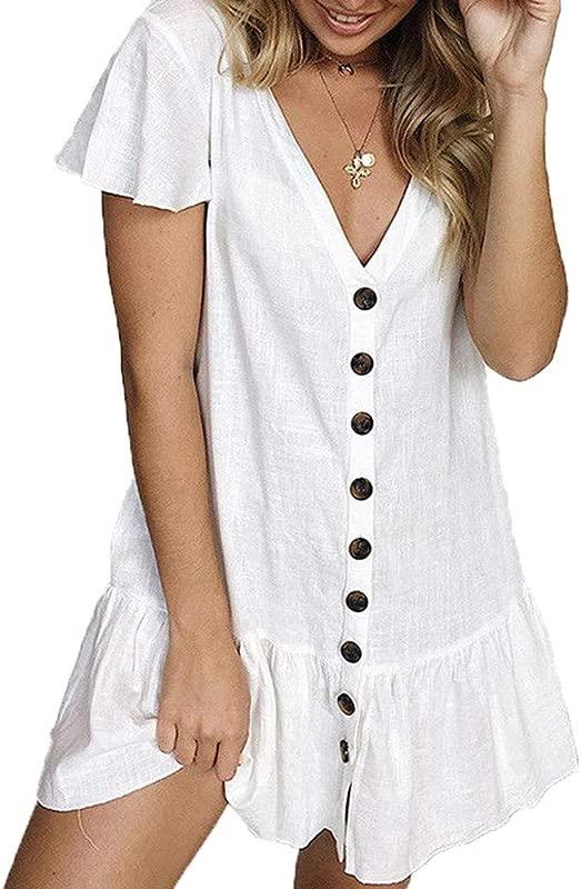 RoDeke Summer Women S Solid Short Sleeve Deep V Neck Buttoned Ruffles Knee Length Sundress Dress