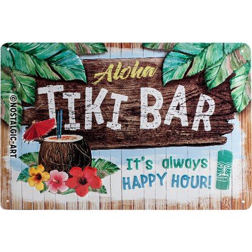 Nostalgic-Art Cartel de Chapa Retro Tiki Bar – Idea de Regalo para los Aficionados a los cócteles, metálico, Diseño Vintage Decorativo, 20 x 30 cm