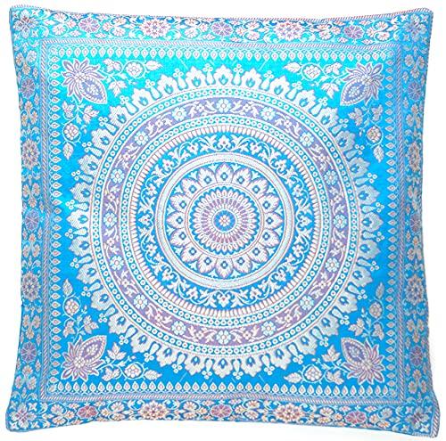 Funda de cojín oriental de seda turquesa y azul, funda de cojín decorativa para sofá, funda decorativa de la India, 40 x 40 cm, tejida a mano y cosida a mano por artesanos