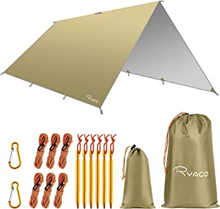 RYACO Camping tentzeil, 3 m x 3 m, tarp voor hangmat, waterdicht, licht, compact, tentonderlegger, picknickdeken, Hammock ...