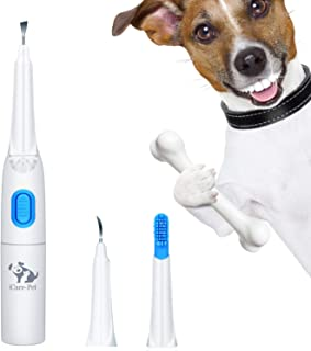 ONETWOTHREE Pet Ultrasonic Dental Calculus and Plaque Remover, Electronic Toothbrush,Teeth Cleaner, 3 Clean Head, with LED Light, Easy to Remove Dog Tartar at Home Or Clinic