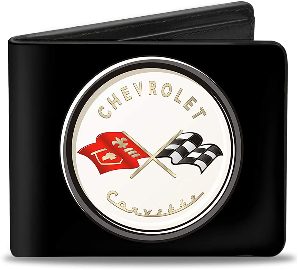 Buckle-Down mens Buckle-down Pu Bifold - Corvette C1 Flags Emblem Black Bi Fold Wallet, Multicolor, 4.0 x 3.5 US