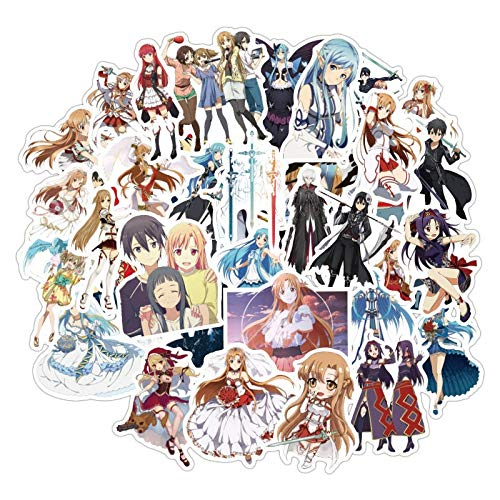 Anime Sword Art Online Stickers Yuuki Asuna Anime Sticker For Laptop Suitcase Skateboard Fridge Bicycle Luggage Cars 50Pcs