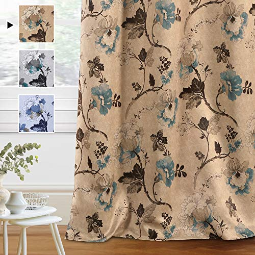 H.VERSAILTEX Blackout Curtains for Bedroom/Living Room Thermal Insulated Printed Curtain Drapes 84 Inches Long Energy Efficient Room Darkening Curtains Pair (2 Panels), Vintage Floral Brown & Blue