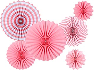 Pink Party Decorations Supplies - Round Party Fan Set - Paper Garlands Hanging Party Decorations - Birthday and Fiesta Party, Cinco De Mayo, Carnival, Christmas, Girl's Room and More, 6pcs
