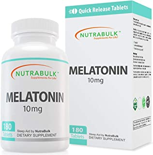 NutraBulk Melatonin 10 mg Tablets – Quick Release Natural Nighttime Sleep Aid for Adults. (180 Count)
