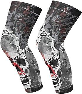Knee Sleeve Trash Skull Full Leg Brace Compression Long Sleeves Pads Socks for Meniscus Tear, Arthritis, Running, Workout, Basketball, Sports, Men and Women 1 Pair