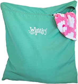 "Wheeky Pets Laundry Helper, Laundry Bag for Pet Beds, Fleece, C&C Cage Liners, Midwest Cage Liners and More, for Guinea Pigs, Rabbits and Small Pets, Green/White, Size 29"" W x 31"" L"