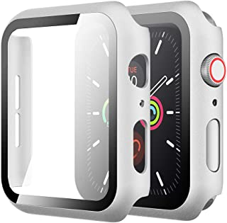 Simpeak Case with Glass Screen Protector Compatible with Apple Watch SE Series 6 Series 5 Series 4 40mm, Full Coverage Sli...
