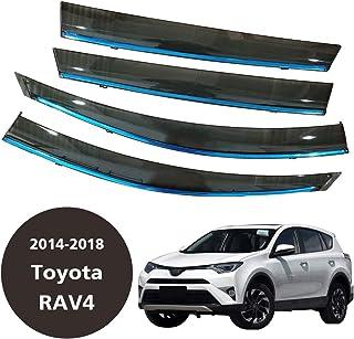 CStern Acrylglas Premium Qualität Windabweiser Auto Regenabweiser Regenschutz Rauchgrau 4 teilig für Toyota RAV4 2014 2018 Seitenscheiben vorn und hinten