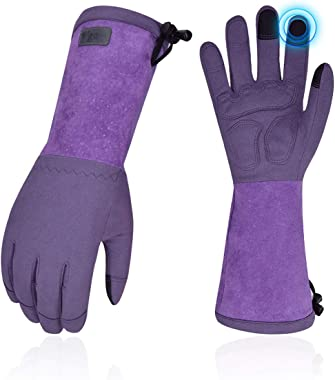 Vgo Ladies' Synthetic Leather Extended Pig Split Leather Cuff Rose Pruning Thorn Proof Garden Gloves (Size L, Purple,SL65
