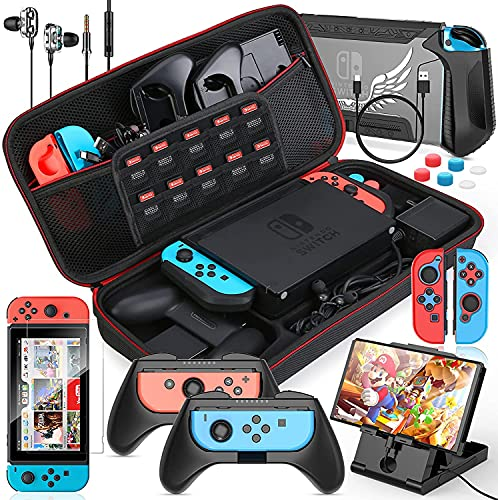HEYSTOP Carrying Case for Nintendo Switch Portable Accessories Kit All Protective Case Screen Protector Thumb Grips Caps for Nintendo Switch with Joy-con Grips and PlayStand (14 in 1)
