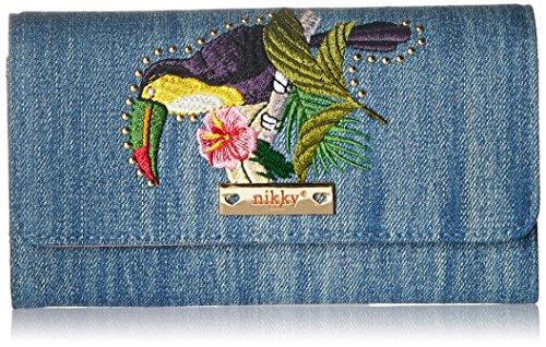 Nikky Denim - portafolios para Mujer, diseño Bordado, Bloqueo de tapicería, Triple Pliegue, para Ventana de identificación, Parrot, Una Talla