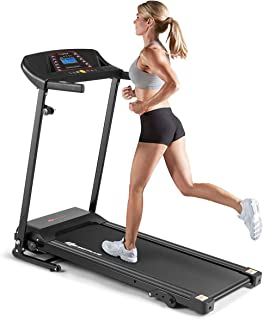 Goplus Electric Folding Treadmill, Adjustable Incline and Low Noise Design, with LCD Display and Heart Rate Sensor, Compact Running Machine for Home Use