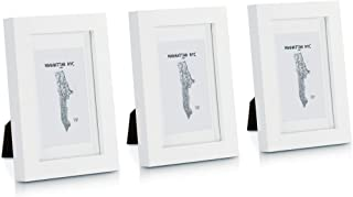 Classic by Casa Chic Marcos de Fotos 10 x 15 cm - Paquete de 3 Marcos de Madera Sólida - con Paspartú para Fotos 6,5 x 10,5 cm Incluido - ¡Grosor 2 cm! - Blanco