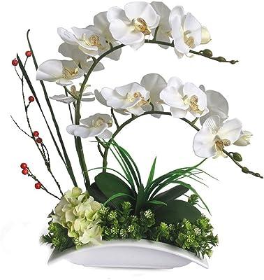 Amazon Com Nearly Artificial Silk Flower Decorative European Contracted Modern Flower Arrangement Art Silk Butterfly Orchid Flower Phalaenopsis Arrangement In Creative Ceramic Vase White Home Kitchen