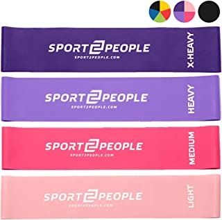 sport2people Set of 4 Exercise Resistance Loop Bands with 2 Workout E-Books for Strength Training and Physical Therapy - Fitness Mini Loops for Booty, Hips and Legs