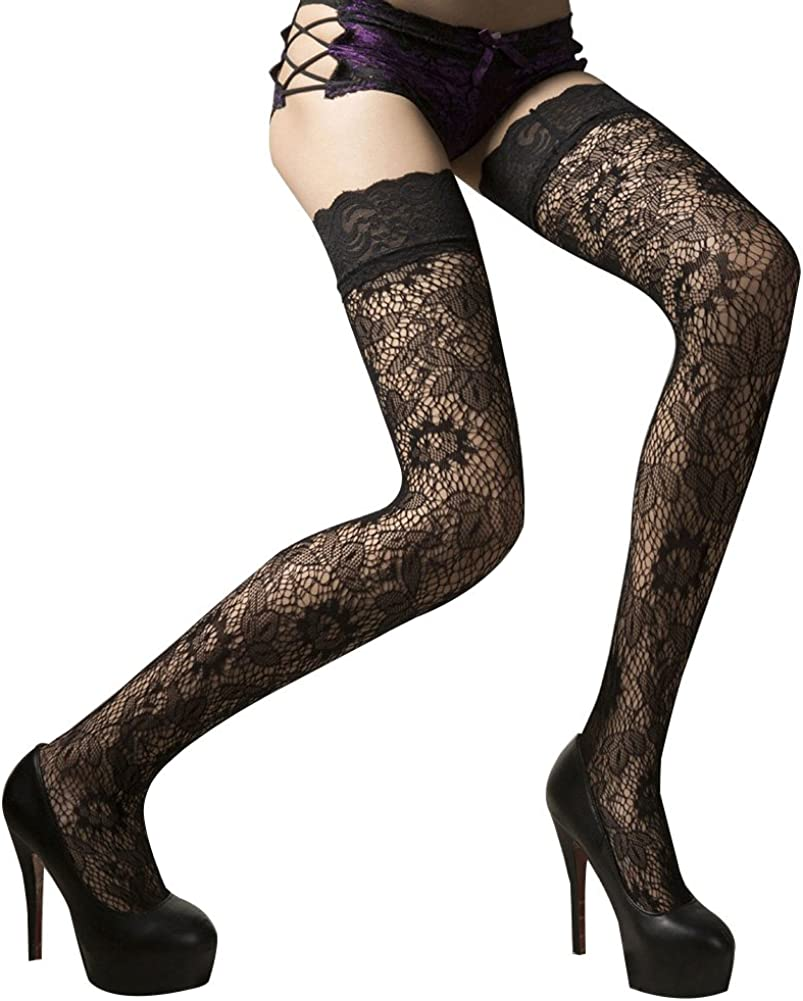 bjduck99 Women Lady Fashion Sexy Lace Floral Over Knee Thigh High Stockings