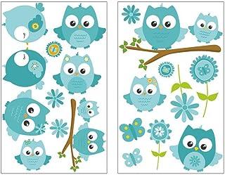 plot4u de 19Piezas Turquesa Baby Búhos en Rama–Adhesivo Decorativo para habitación Infantil, 2X 16x26cm
