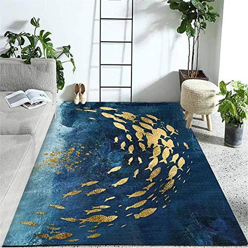 Xiaosua mesas Comedor Grandes Azul Alfombra Duradera para salón, patrón de Pescado Azul, Alfombra Lavable Bases Antideslizantes para alfombras 130X190CM alfombras Exterior terraza 4ft 3.2''X6ft 2.8''