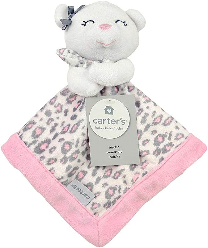 Carter S Print Security Blanket Pink Grey Bear With Leopard