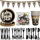 BETOY Harry Potter Set Festa di Compleanno 41PCS Set per Feste di Wizard Mago Decorazioni Party Tableware Kit Festa in Tavola per Piatti di Carta, Striscioni, Coltelli, Forchette e Cucchiai