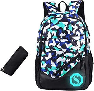 JiaYou Boy Girl Unisex 20L Fashion School Bag Backpack Bookbag with Florescent Mark 2/3 Sets OR Ball Net Single