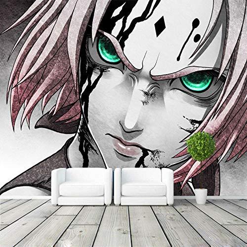 WWMJBH behang zelfklevend vuur man ninja voorjaar wilde kersenbloesem fotobehang wandschilderij 3D Japans anime behang designer kunst kamerdecoratie slaapkamer wandkunst woonkamer tv hin 450x300 cm (BxH) 9 Streifen - selbstklebend