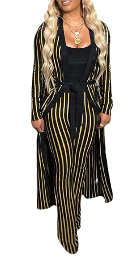 キャリッジ回転読みやすさWomens Long Sleeve Stripe Cardigan Long Pants 2 Piece Outfits Set