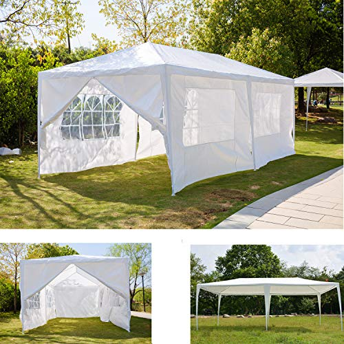 AutoBaBa 3x3m 3x4m 3x6m Party Gazebo Tent Marquee Awning Canopy For Outdoor Wedding Garden with Side Panels, Fully Waterproof, White (3x6m, 6 Side Panels, B Type)