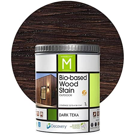 Barniz Madera Exterior | Bio-based Wood Stain | 1 L | Barniz ecológico para todo tipo de madera | Lasur madera exterior | color Dark Teka | Flexible y ...