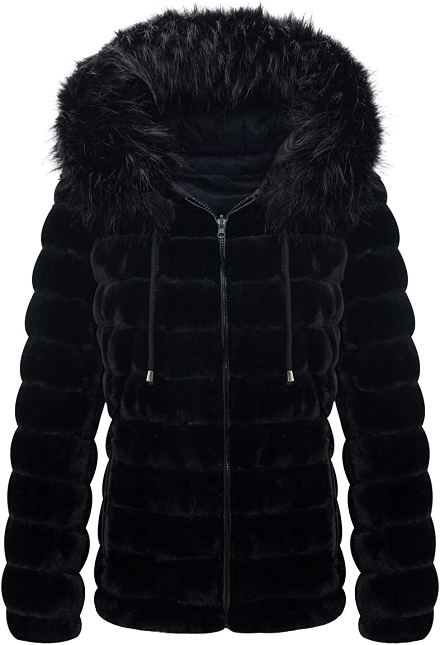 Bellivera Women's Double Sided Faux Fur Jacket Hooded with Fur Collar, The Puffer Coat Worn on Both Sides