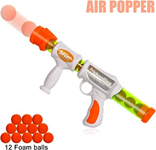Goldboy Air Popper Gun, Soft Foam Ball Gun, Rapid Fire Atomic Power Pump Action Blaster Shooter Gun, Foam Ball Battle Toy for Kids with 12 Soft Foam Balls