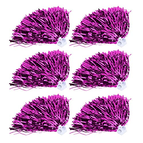 Cheerleader Pom Poms 6 / 12pcs Cheerleading Poms Metallfolie Pom Poms Squad Jubel Sport Party Dance Nützliches Zubehör(Rosenrot 12)