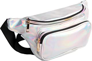 Fanny Pack for Women Holographic Fanny Pack Waist Bag Iridescent Cute Bum Bag Fashion for Rave Party Festival