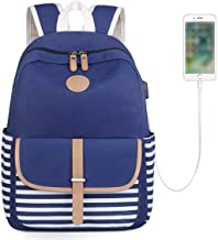 Backpack Canvas Stripe Backpack with USB port Cute Daypack Teen Leisure Bookbag For Girls Boys School Bag Laptop College Bags