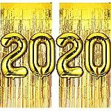 40 Pulgadas Globos con Número de Lámina de Oro 2020 y Cortina con Flecos de Aluminio Globo de Año Nuevo 2020 Set de Fin de Año Suministros para Fiestas Decoraciones de Graduación, Juego de 6