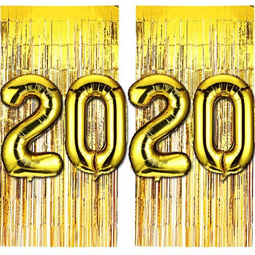Gejoy 40 Pollici 2020 Palloncini Numero Lamina d'oro e Tenda con Frange in Alluminio Palloncino di Capodanno 2020 Palloncini Set per Forniture per Feste di Capodanno Decorazioni di Laurea, Set di 6