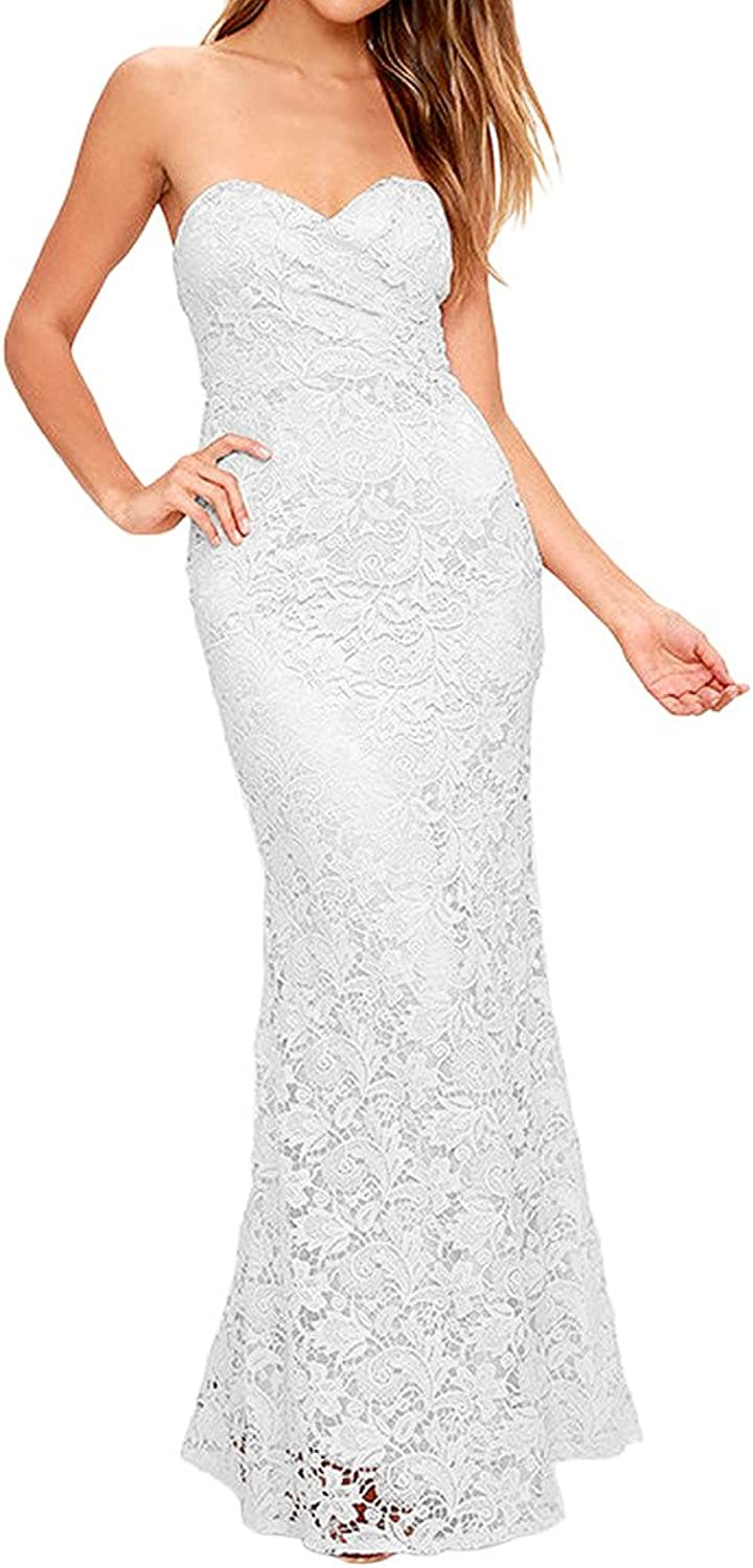 Avril Dress Elegant Evening Wedding Party Gown Strapless Sheath Dress Lace