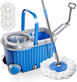 MASTERTOP Microfiber Spin Mop and Bucket Set with 3 Microfiber Mop Heads and Two Wheels Floor Cleaning Tools with Stainless Steel Basket for Dry and Wet