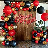Red and Black Gold Balloons Birthday Valentines Day Party Decorations for Women, Red and Black Gold Balloon Garland Arch Kit, 18th 21st 30th 40th 50th 60th Birthday Party Decorations for Women Her