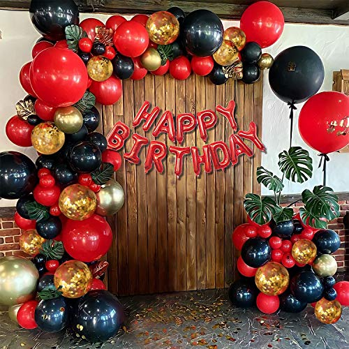 Red Black and Gold Balloons with Red Happy Birthday Balloons Banner, Red Black Balloon Arch Garland Kit Girls Women Birthday Wedding Valentines Anniversary Party Decorations for Women Girls