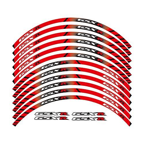 Pegatinas llantas 12 X grueso borde exterior de la Costa del parachoques raya Adhesivos de ruedas adaptarse a todos los SUZUKI GSXR 250 400 600 1000 750 GSXR1000R GSXR1000 GSXR600 750 (Color : Red)