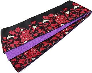 (オオキニ)大喜賑 半幅帯 日本製 リバーシブル 浴衣 帯 レディース レトロ唐草 (黒/紫)