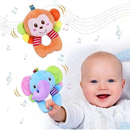Vacoulery Giocattolo Sonaglio Neonati, 2 Pezzi Sonaglio Neonato Neonati Shaker Peluche Rattle Strumenti Musicali Sensoriale di Peluche per Bambino Animali Morbidi Giocattoli (Elefante Scimmia)