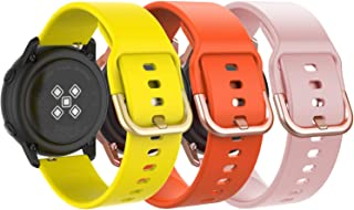 MoKo Band Compatible with Samsung Galaxy Watch Active/Active 2/Galaxy Watch 42mm/Gear S2 Classic/Ticwatch 2/E/Vivoactive 3, [3-Pack] 20mm Silicone Replacement Sport Strap - Yellow&Orange&Pink